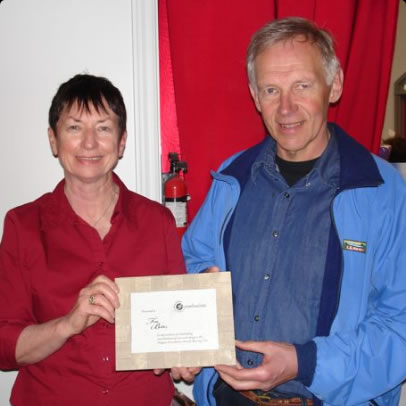 Rita Dillon presented Tom with the Freewheelers Lifetime Membership Award in 2012
